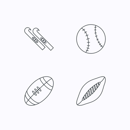footbal: Sport fitness, rugby ball and baseball icons. American footbal, skis linear signs. Flat linear icons on white background. Vector