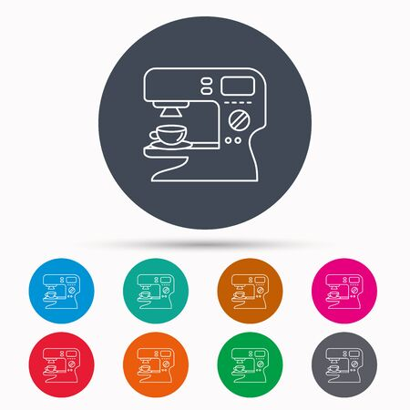 sign maker: Coffee maker icon. Hot drink machine sign. Icons in colour circle buttons. Vector