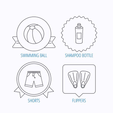 shampoo bottle: Flippers, swimming ball and trunks icons. Shampoo bottle linear sign. Award medal, star label and speech bubble designs. Vector Illustration