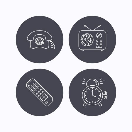 clock radio: Retro phone, radio and TV remote icons. Alarm clock linear sign. Flat icons in circle buttons on white background. Vector