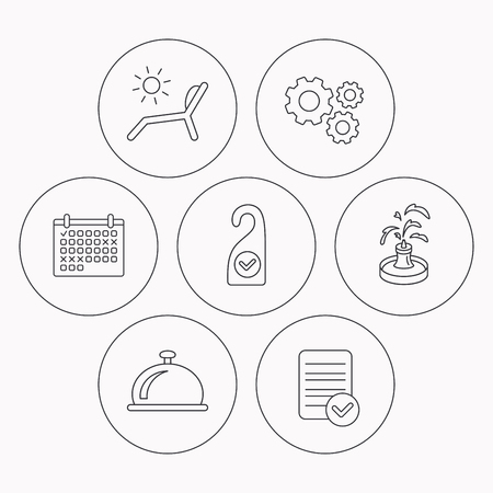 5 door: Reception bell, fountain and beach deck chair icons. Clean room linear sign. Check file, calendar and cogwheel icons. Vector Illustration