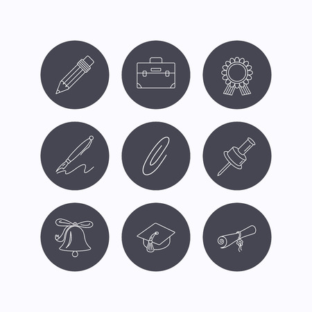 safety circle: Graduation cap, pencil and diploma icons. Award medal, briefcase and bell linear signs. Pen, safety pin icons. Flat icons in circle buttons on white background. Vector