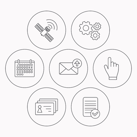 outbox: Hand pointer, contacts and gps satellite icons. Outbox mail linear sign. Check file, calendar and cogwheel icons. Vector Illustration