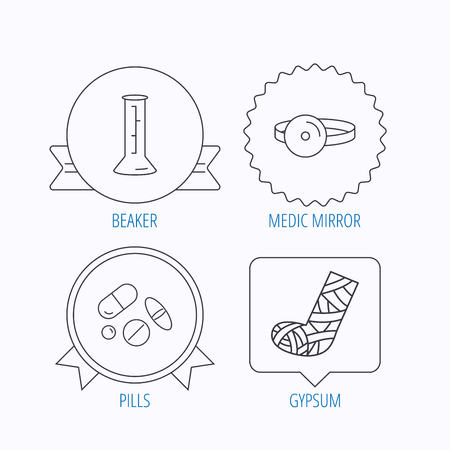 analyses: Gypsum, lab beaker and medical pills icons. Medical mirror linear sign. Award medal, star label and speech bubble designs. Vector
