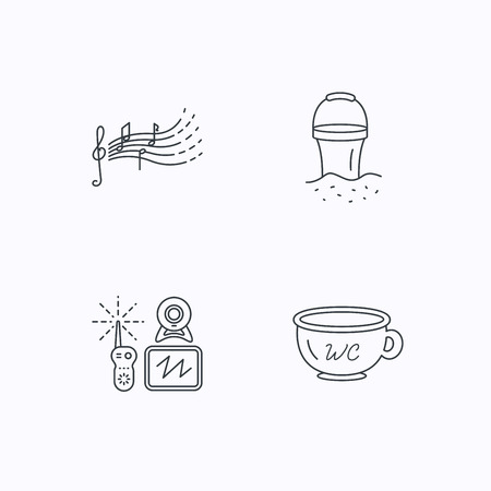 beach bucket: Baby wc, video monitoring and songs for kids icons. Beach bucket linear sign. Flat linear icons on white background. Vector Illustration