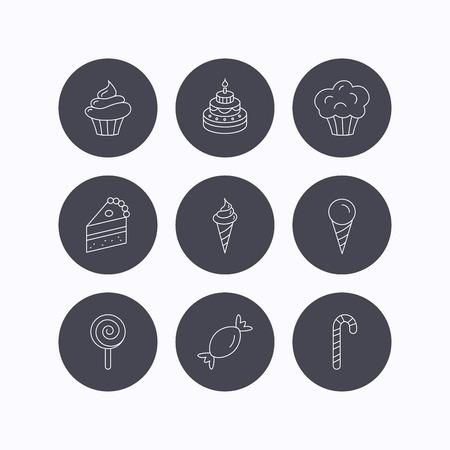 porcion de pastel: Pastel, dulces y muffins iconos. Magdalena, helados y Lolly pop signos lineales. Pedazo de torta icono. iconos planos de botones de círculo sobre fondo blanco. Vector Vectores