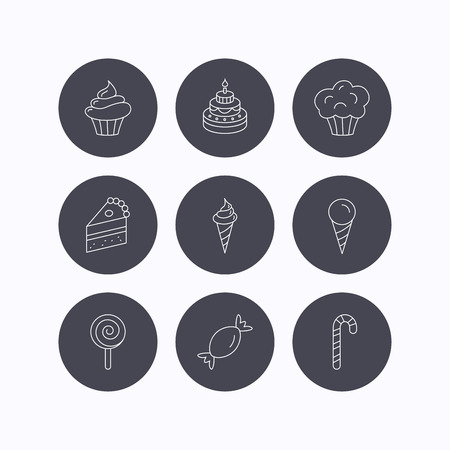 Cake, candy and muffin icons. Cupcake, ice cream and lolly pop linear signs. Piece of cake icon. Flat icons in circle buttons on white background. Vector Illustration