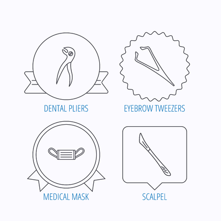 eyebrow: Medical mask, scalpel and dental pliers icons. Eyebrow tweezers linear sign. Award medal, star label and speech bubble designs. Vector Illustration