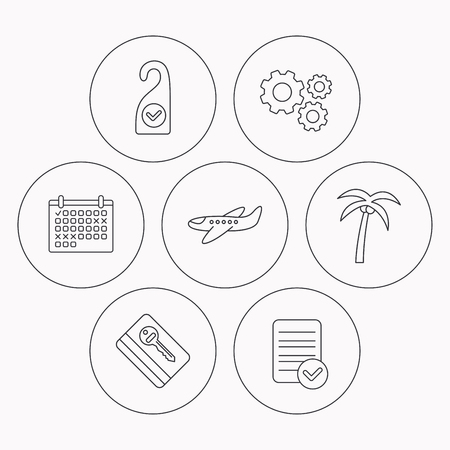 check room: Palm tree, air-plane and e-key icons. Clean room linear sign. Check file, calendar and cogwheel icons. Vector