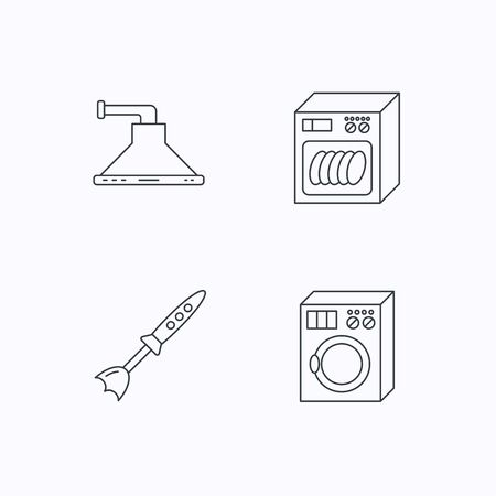 warmer: Dishwasher, washing machine and blender icons. Kitchen hood linear sign. Flat linear icons on white background. Vector