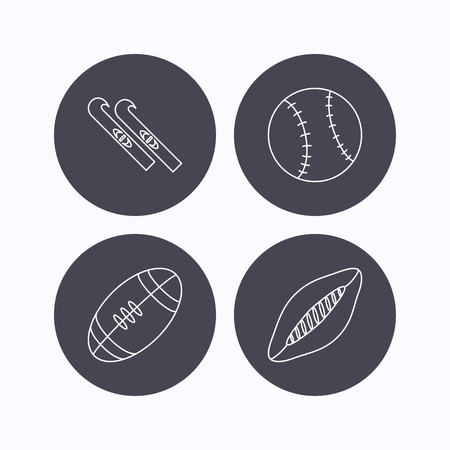 footbal: Sport fitness, rugby ball and baseball icons. American footbal, skis linear signs. Flat icons in circle buttons on white background. Vector