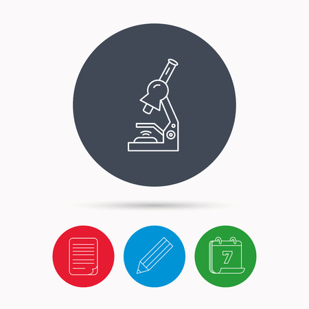 criminology: Microscope icon. Medical laboratory equipment sign. Pathology or scientific symbol. Calendar, pencil or edit and document file signs. Vector