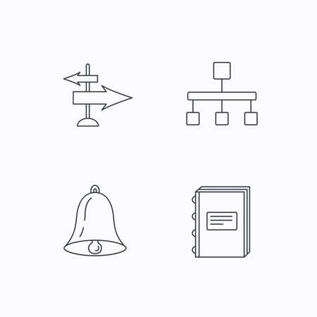 jerarqu�a: Book, hierarchy and direction arrows icons. Alarm bell linear sign. Flat linear icons on white background. Vector