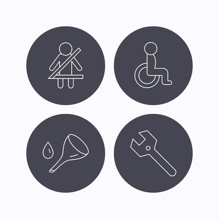 to fasten: Wrench key, oil change and fasten seat belt icons. Disabled person linear sign. Flat icons in circle buttons on white background. Vector