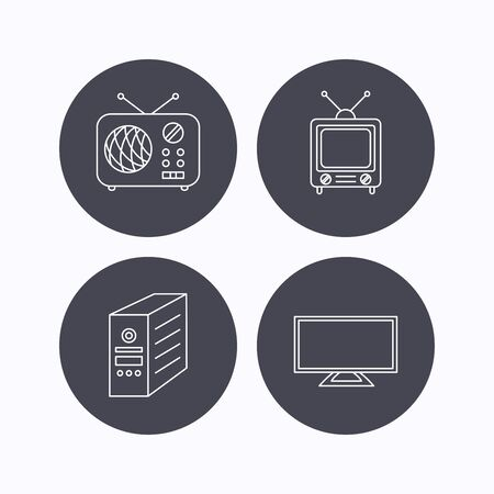 pc case: TV, PC case and retro radio icons. Retro TV linear sign. Flat icons in circle buttons on white background. Vector