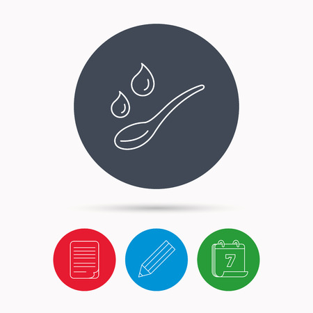 dose: Spoon with water drops icon. Baby medicine dose sign. Child food symbol. Calendar, pencil or edit and document file signs. Vector