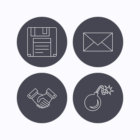 email bomb: Mail, bomb and handshake icons. Floppy disk linear sign. Flat icons in circle buttons on white background. Vector