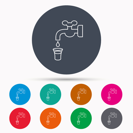 waterworks: Save water icon. Crane or Faucet with drop sign. Icons in colour circle buttons. Vector