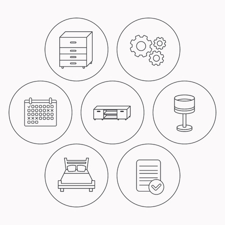 drawers: Double bed, table lamp and TV table icons. Chest of drawers linear sign. Check file, calendar and cogwheel icons. Vector