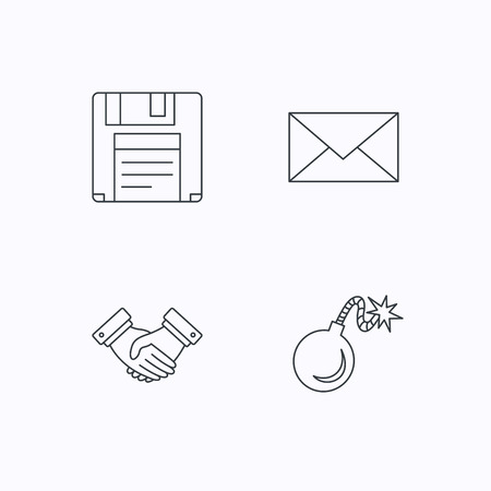 email bomb: Mail, bomb and handshake icons. Floppy disk linear sign. Flat linear icons on white background. Vector Illustration