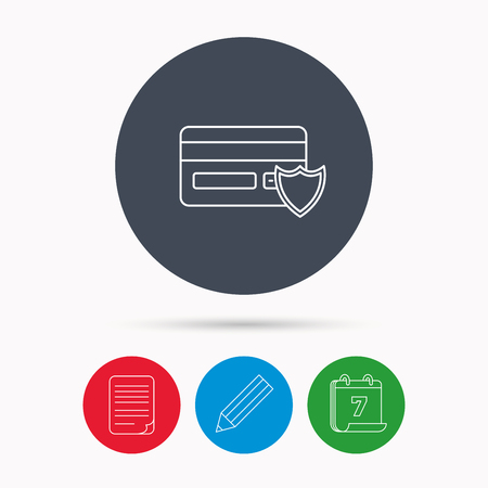 card file: Protection credit card icon. Shopping sign. Calendar, pencil or edit and document file signs. Vector