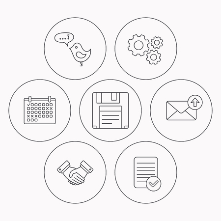 Outbox mail, message and handshake icons. Floppy disk linear sign. Check file, calendar and cogwheel icons. Vector Illustration