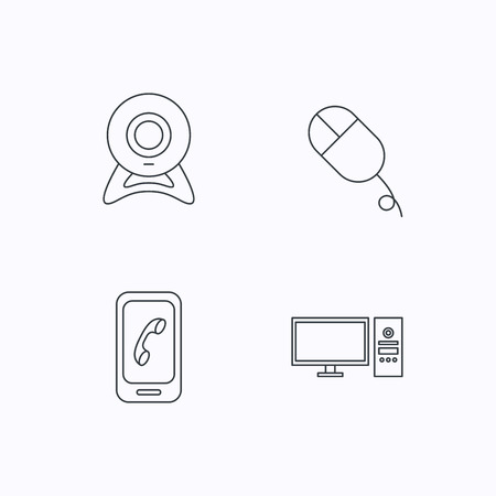 pc case: Computer, web camera and mobile phone icons. PC case linear sign. Flat linear icons on white background. Vector Illustration