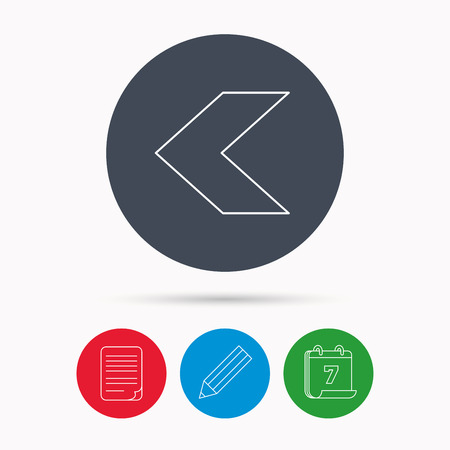 plain button: Back arrow icon. Previous sign. Left direction symbol. Calendar, pencil or edit and document file signs. Vector