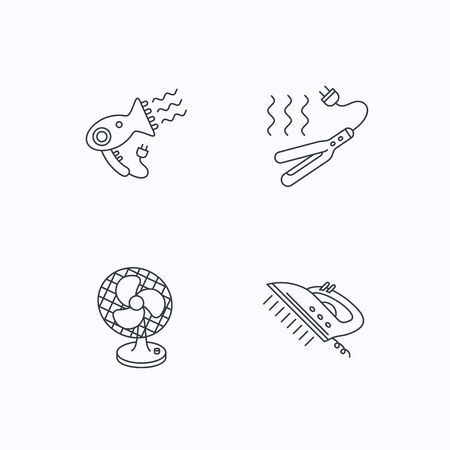 ventilator: Steam ironing, curling iron and hairdryer icons. Ventilator linear sign. Flat linear icons on white background. Vector