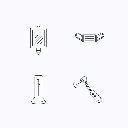 thin bulb: Medical mask, blood and drilling tool icons. Beaker linear sign. Flat linear icons on white background. Vector