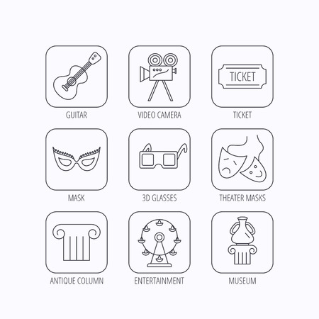 theater masks: Museum, guitar music and theater masks icons. Ticket, video camera and 3d glasses linear signs. Entertainment, antique column icons. Flat linear icons in squares on white background. Vector
