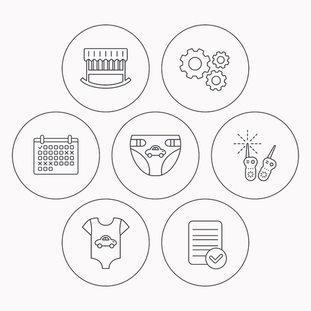 diapers: Newborn clothes, diapers and sleep cradle icons. Radio monitoring linear sign. Check file, calendar and cogwheel icons. Vector Illustration