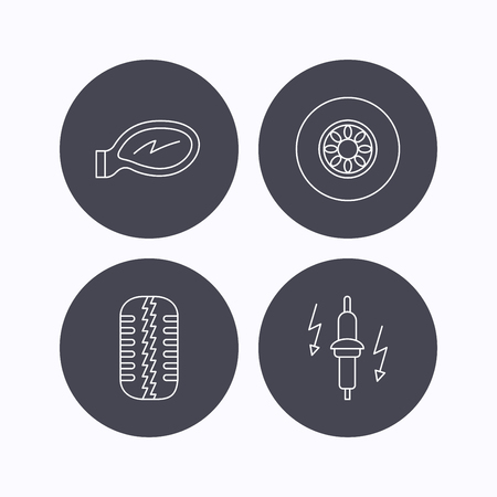 tread: Wheel, car mirror and spark plug icons. Tire tread linear sign. Flat icons in circle buttons on white background. Vector