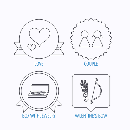 amour: Love heart, jewelry and couple icons. Valentine amour arrows linear signs. Award medal, star label and speech bubble designs. Vector Illustration