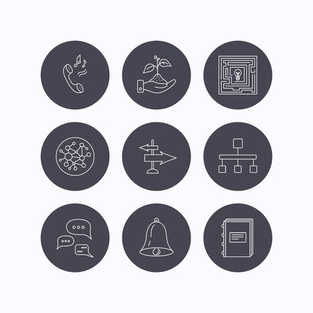 global direction: Conversation, global network and direction icons. Save nature, maze and book linear signs. Bell and phone ringtone flat line icons. Flat icons in circle buttons on white background. Vector Illustration