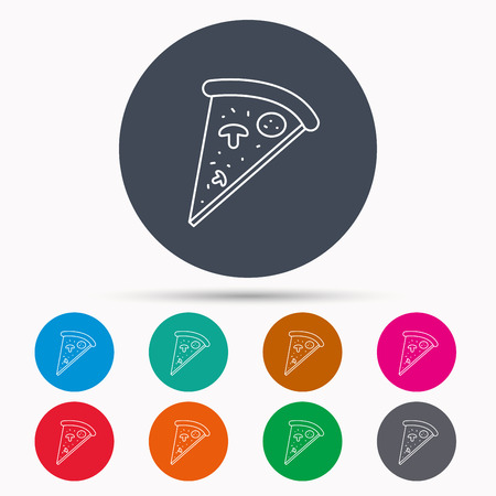 bake: Pizza icon. Piece of Italian bake sign. Icons in colour circle buttons. Vector