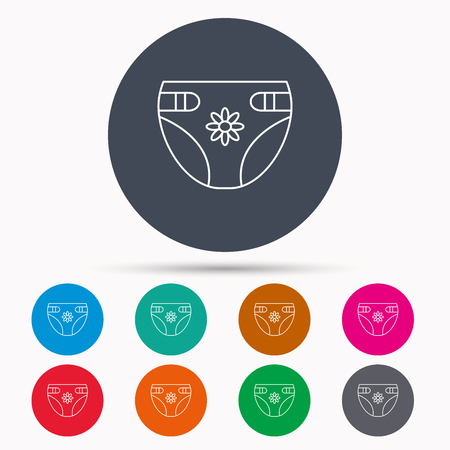 pampers: Diaper with flower icon. Child underwear sign. Newborn protection symbol. Icons in colour circle buttons. Vector