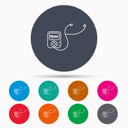 songs: Music player icon. Songs portable device sign. Multimedia sound technology symbol. Icons in colour circle buttons. Vector