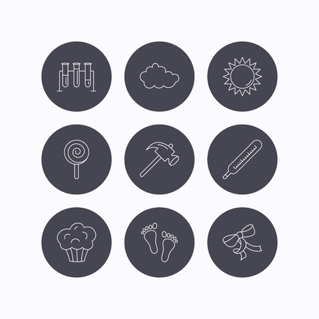 lolly pop: Footprint, lab bulbs and thermometer icons. Muffin, bow and lolly pop linear signs. Cloud and sun flat line icons. Flat icons in circle buttons on white background. Vector
