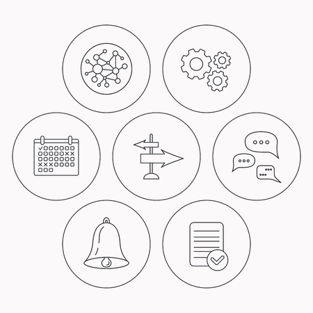 global direction: Conversation, global network and direction icons. Bell alarm signal linear sign. Check file, calendar and cogwheel icons. Vector
