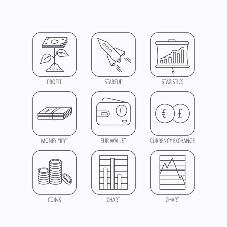 deceleration: Profit investment, cash money and startup rocket icons. Wallet, currency exchange and euro linear signs. Chart, coins and statistics icons. Flat linear icons in squares on white background. Vector