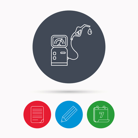 fuel pump: Gas station icon. Petrol fuel pump sign. Calendar, pencil or edit and document file signs. Vector