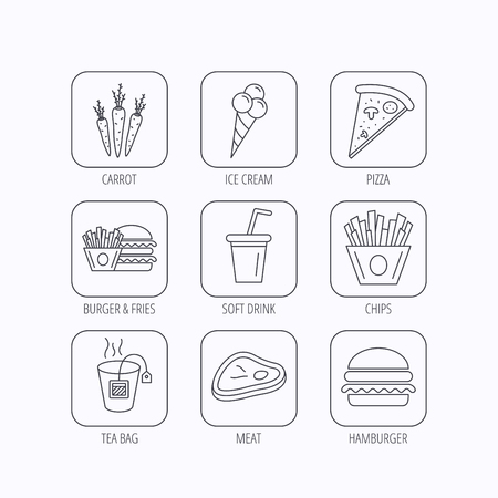 ice tea: Hamburger, pizza and soft drink icons. Tea bag, meat and chips fries linear signs. Ice cream, carrot icons. Flat linear icons in squares on white background. Vector