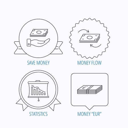 cash flows: Banking, cash money and statistics icons. Money flow, save money linear sign. Award medal, star label and speech bubble designs. Vector Illustration
