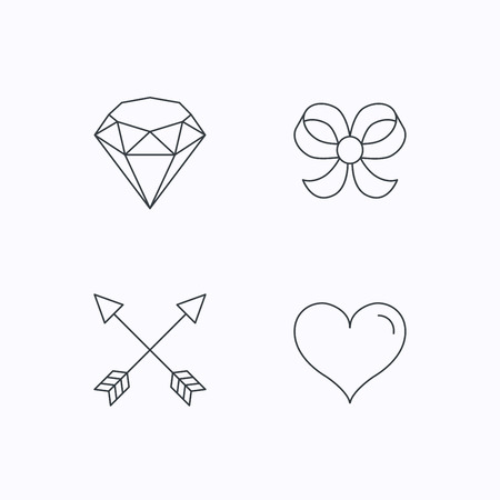 bowknot: Love heart, brilliant and bow-knot icons. Arrows linear signs. Flat linear icons on white background. Vector