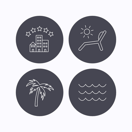 deck chair: Palm tree, waves and deck chair icons. Hotel linear sign. Flat icons in circle buttons on white background. Vector