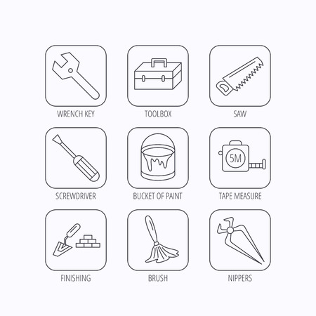 nippers: Wrench key, screwdriver and paint brush icons. Toolbox, nippers and saw linear signs. Finishing spatula icon. Flat linear icons in squares on white background. Vector