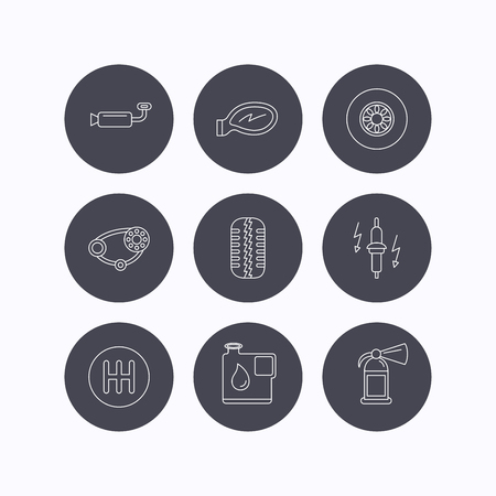 timing belt: Wheel, car mirror and timing belt icons. Fire extinguisher, jerrycan and manual gearbox linear signs. Muffler, spark plug icons. Flat icons in circle buttons on white background. Vector
