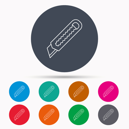 retractable: Paper knife icon. Cutter tool sign. Icons in colour circle buttons. Vector Illustration