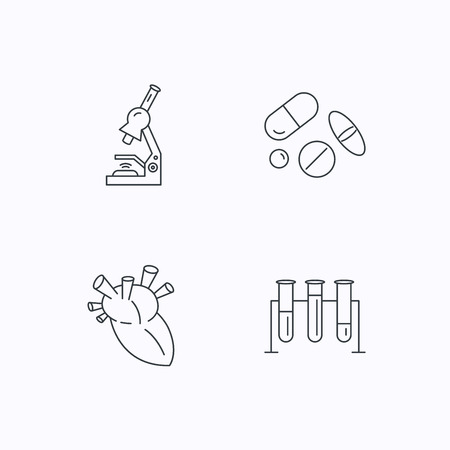 analyses: Microscope, medical pills and heart icons. Lab bulbs linear sign. Flat linear icons on white background. Vector